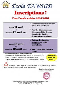 Inscriptions 2015-2016